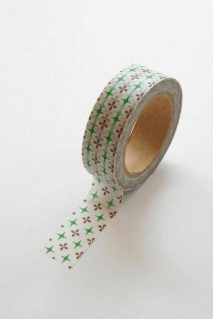 Washi Tape - 15mm - Green and Plum Geometric Pattern - no. 276