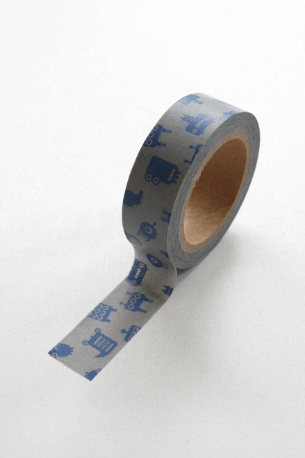 Washi Tape - 15mm - Blue Robots on Grey - No. 328