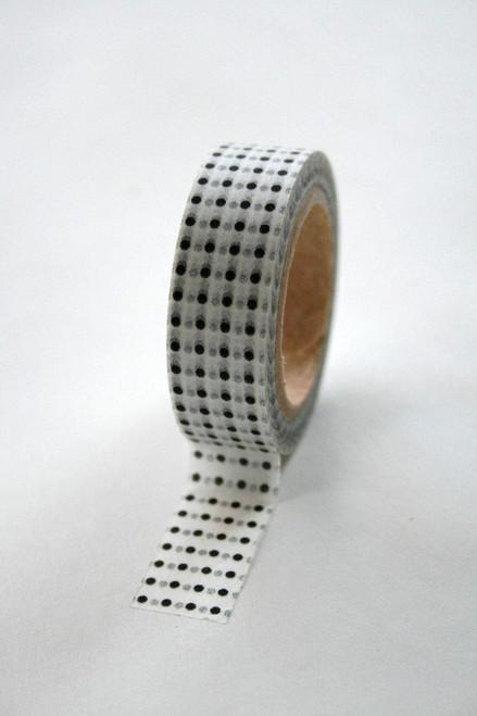 Washi Tape - 15mm - Black Grey Polka Dot on White - No. 202