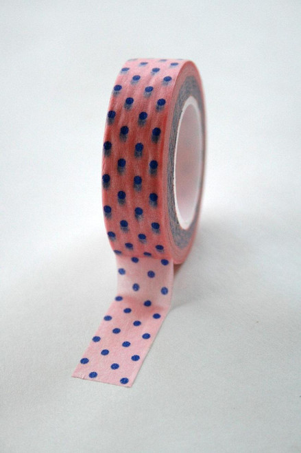 Washi Tape - 15mm - Blue Polka Dot on Pink - No. 178