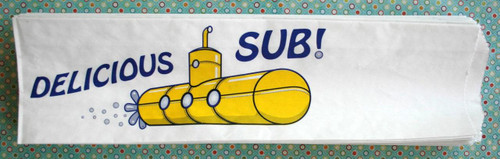 Adorable Yellow Submarine Sandwich Bags - Yellow and Navy - Gusseted 4 1/2 x 1 1/4 x 12 Inches