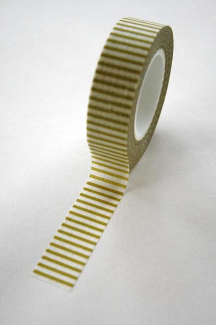 Washi Tape - 15mm - Chartreuse Light Olive Horizontal Stripe - No. 104