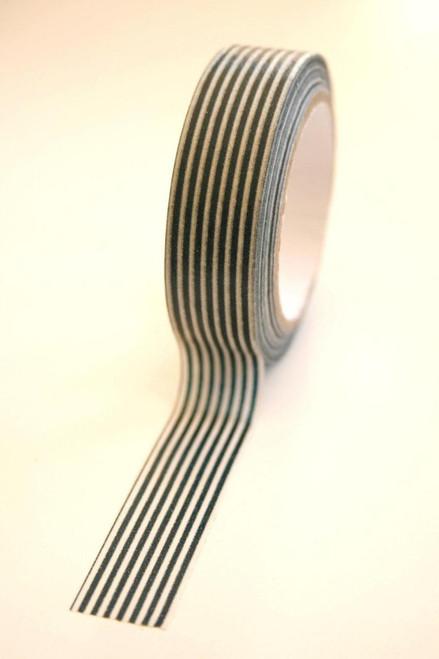 Washi Tape - 15mm - Black and White Vertical Stripe - No. 115