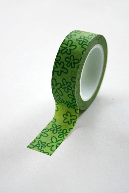 Washi Tape - 15mm - Deep Green Floral on Apple Green Pattern - No. 218
