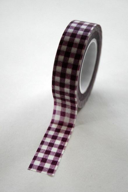 Washi Tape - 15mm - Deep Purple Gingham Check - No. 81