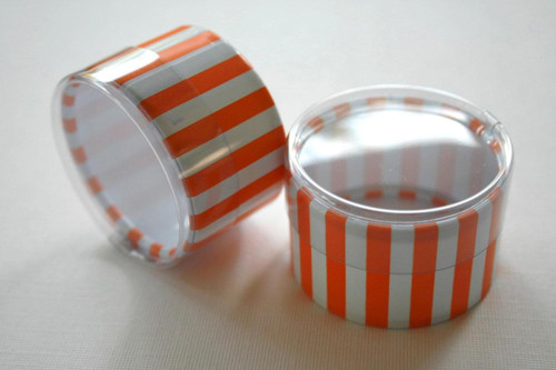 Favor or Storage Boxes with Clear Lids and Bottoms - Plastic - Orange Striped