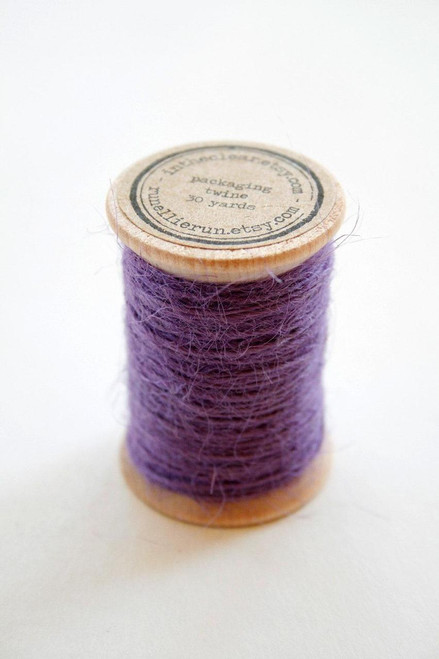 Burlap Twine - 30 Yards on Wooden Spool - Purple Color Jute