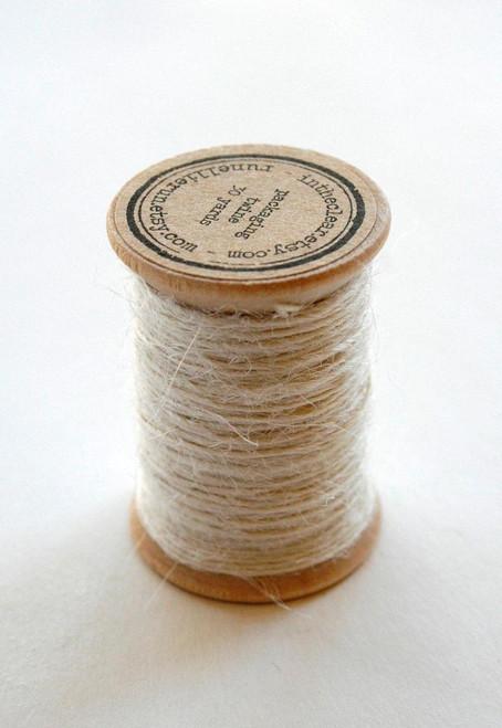 Burlap Twine - 30 Yards on Wooden Spool - Cream Color Jute