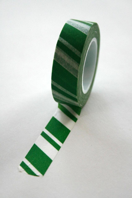 Washi Tape - 15mm - Green and White Candy Cane Stripe - No. 144