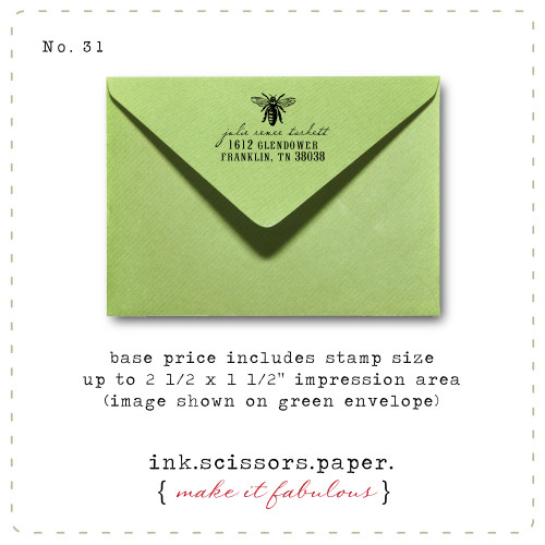 Customized Red Rubber Wood Stamp - Classic Bee