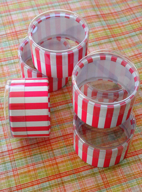 Favor or Storage Boxes with Clear Lids and Bottoms - Plastic - Hot Pink Striped