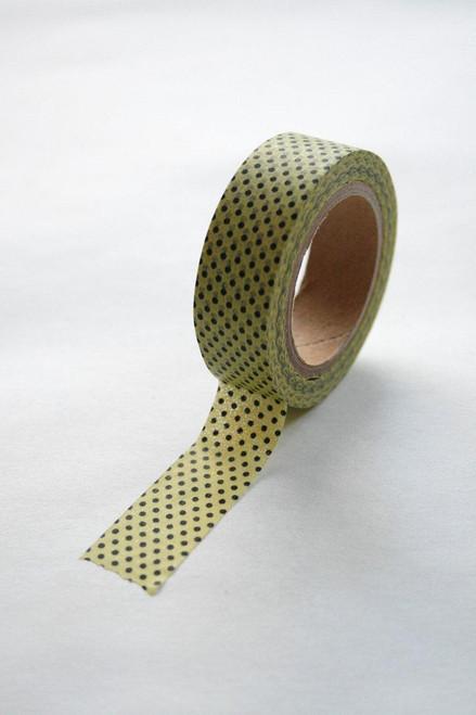 Washi Tape - 15mm - Black Polka Dot on Yellow - No. 180