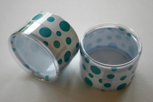 Favor or Storage Boxes with Clear Lids and Bottoms - Plastic - Aqua Dot