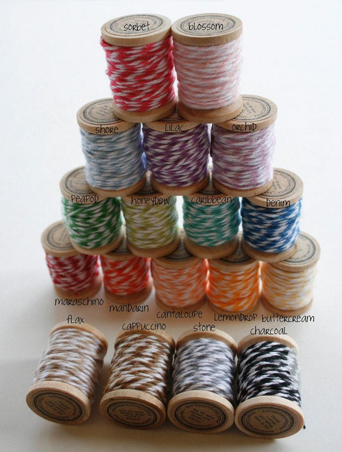 Baker's Twine on Wooden Spools - 5 Yards Each- 90 Yards Total - 4 Ply Cotton Made in USA - Eighteen Color Set