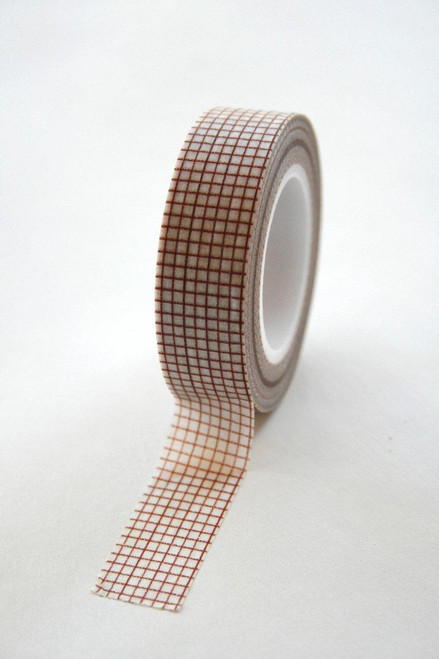 Washi Tape - 15mm - Brown Graph Paper Grid Design on White - No. 50
