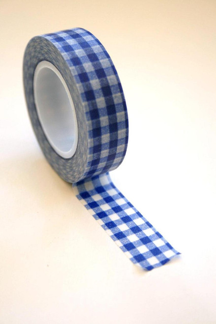 Washi Tape - 15mm - Blue Gingham Check - No. 80