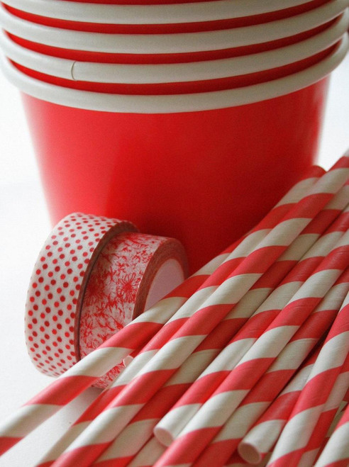Rosy Red Large Paper Ice Cream Cups with Message Spoons and Paper Straws
