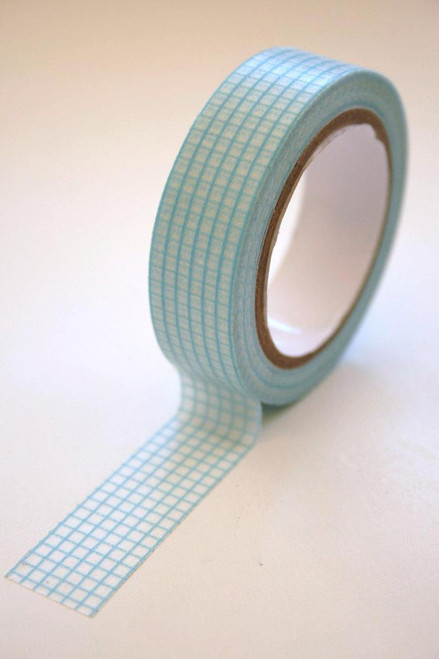 Washi Tape - 15mm - Blue Graph Paper Grid Design on White - no. 58