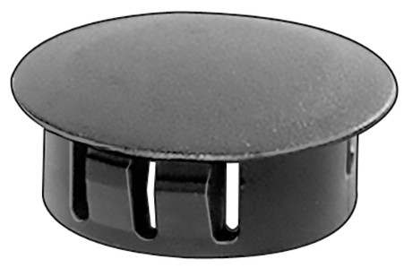"7/16"" Hole Size Max. Thickness: 1/8"" Head Diameter: 17/32"" Nylon Locking Hole Plugs Black Nylon 50 Per Box See Next Image For Plug Size Chart"