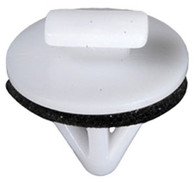 Moulding Clip With Sealer Top Head Size: 5mm x 10mm Bottom Head Diameter: 18mm Stem Diameter: 10mm Stem Length: 13mm Toyota Corolla & Venza 2008-On OEM# 75395-0T010 White Nylon 25 Per Box Click Next Image For Clip Detail