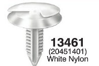 "Retains Conduit To Sheet Metal In Doors - GM Head Diameter: 15/16"" Stem Diameter: 5/16"" Stem Length: 1-1/8 OEM# 20451401 White Nylon 25 Per Box Click Next image For Clip Detail"