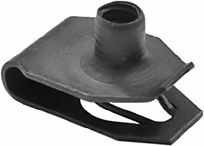 "Extruded U Nut #8 -32 Screw Tread Size Center of Hole To Edge: 13/32"" Panel Range: .079"" - .118"" OEM# 45262 Black Phosphate 50 Per Box Click Next Image For Nut Detail"