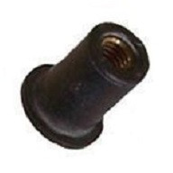 "Well Nut #8 -32 Thread Size Range: .015"" - .156"" Material: Neoprene With Captive Brass Nut Chrysler OEM#: 6026166 GM OEM#: 347065 Rear Compartment Cover Support 25 Per Box Click Next Images For Well nut Size Charts"