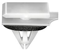 Rocker Panel Moulding Clip With Sealer  •White Nylon  •Top Head Size: 12mm x 20mm •Bottom Head Size: 12mm x 24mm •Stem Length: 14mm •Fits Into 9mm Hole •Chevrolet Camaro 2010  •Pontiac G6 & Grand Prix 2004 - On •OEM# 11610495 •15 Per Box