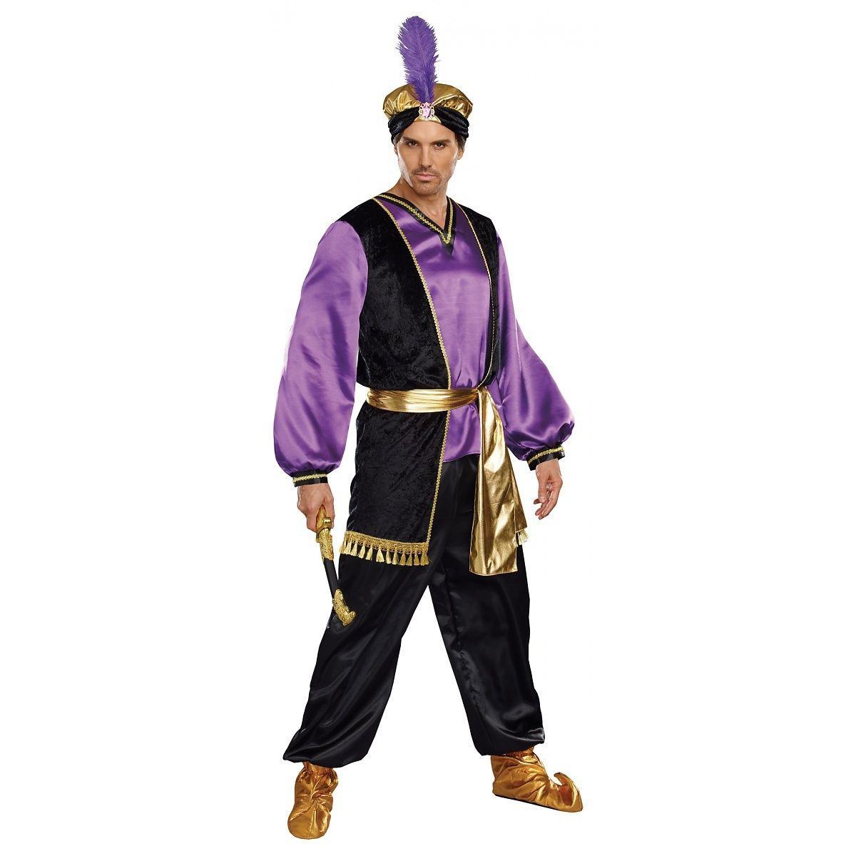 The Sultan Costume Adult Mens Tunic Aladdin Arabian Prince Purple Black Md-XXL  sc 1 st  Dazzling Costumes & The Sultan Costume Adult Mens Tunic Aladdin Arabian Prince Purple ...