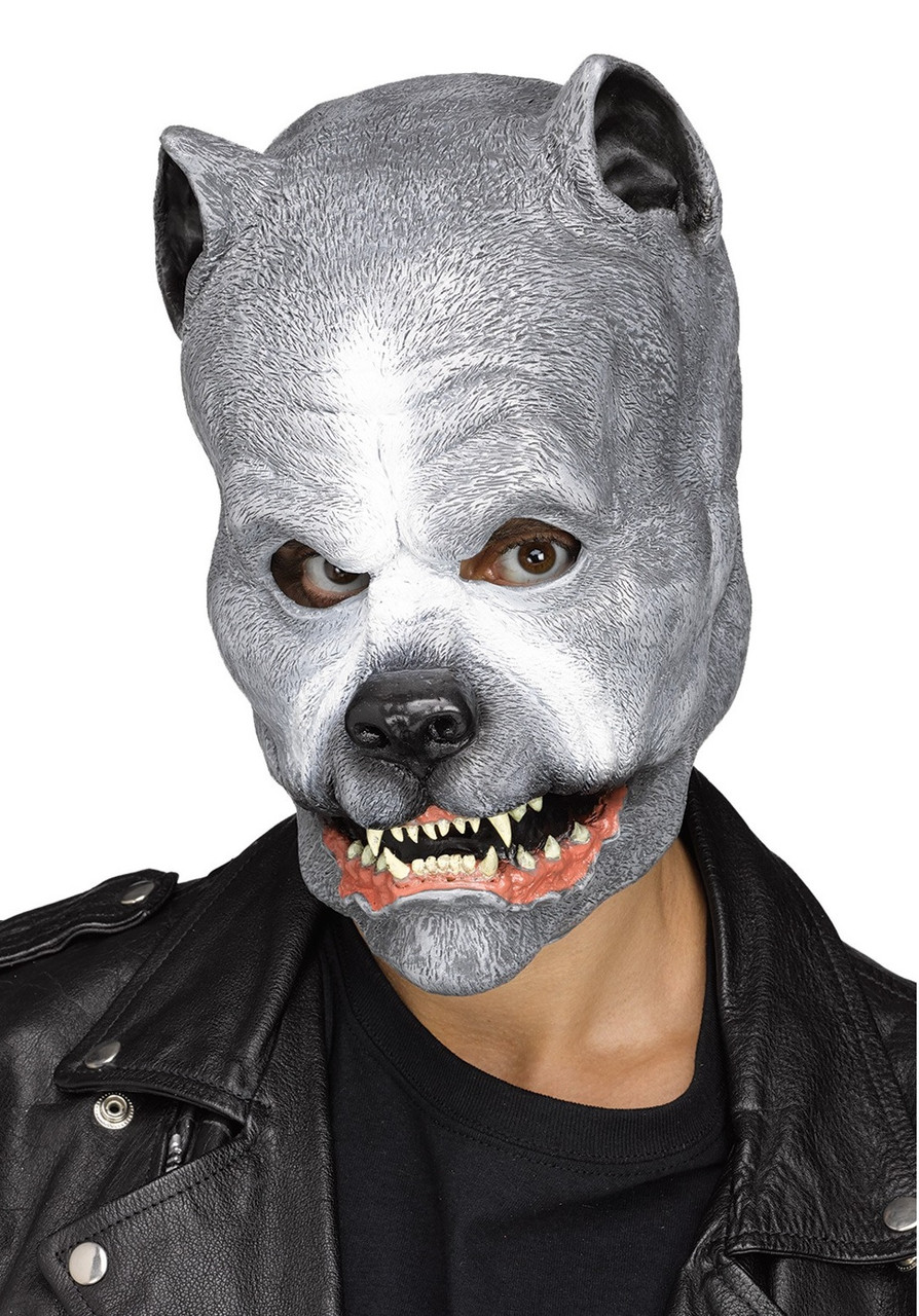 Grey Pit Bull Latex Mask Animal Snarling Dog Halloween Costume Accessory - .dazzlingcostumes.com  sc 1 st  Dazzling Costumes & Grey Pit Bull Latex Mask Animal Snarling Dog Halloween Costume ...