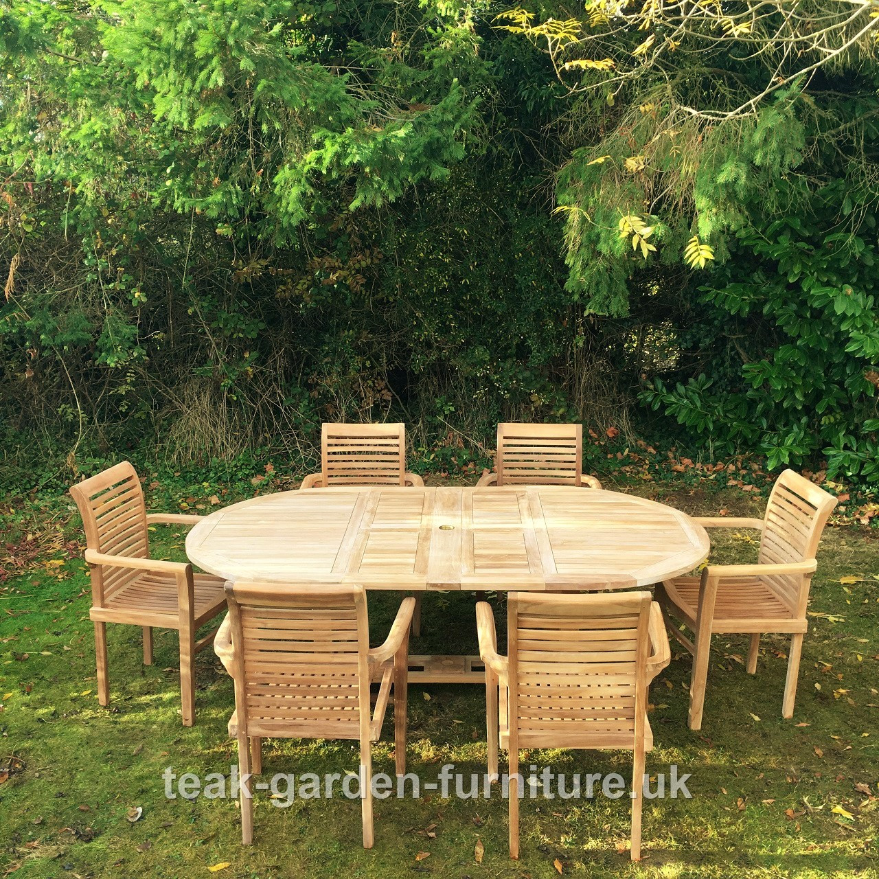 Oval Extending Table Cmcm X Cm With Stacking Chairs - Teak oval extending table