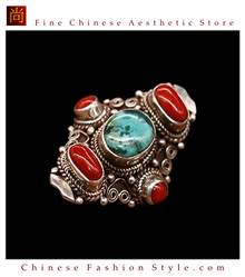 Fine Tibetan Turquoise Coral Gemstone Jewelry 925 Silver Ring 100% Handcraft #109