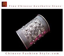 Tribal Silver Cuff Bracelet Chinese Ethnic Hmong Miao Jewelry #203 Unique Handmade
