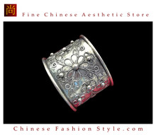 Tribal Silver Cuff Bracelet Chinese Ethnic Hmong Miao Jewelry #208 Unique Handmade