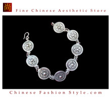 Tribal Silver Cuff Bracelet Chinese Ethnic Hmong Miao Jewelry #233 Unique Handmade