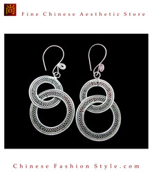 Tribal Silver Earrings Chinese Ethnic Hmong Miao Jewelry #101 Uniquely Handmade