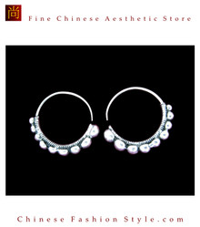 Tribal Silver Earrings Chinese Ethnic Hmong Miao Jewelry #102 Uniquely Handmade