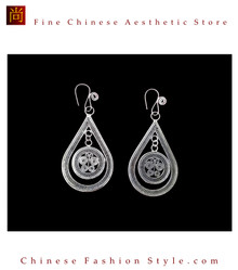 Tribal Silver Earrings Chinese Ethnic Hmong Miao Jewelry #109 Uniquely Handmade