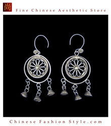 Tribal Silver Earrings Chinese Ethnic Hmong Miao Jewelry #328 Uniquely Handmade