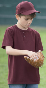 Sport-Tek® Youth Short Sleeve Baseball Henley YT210