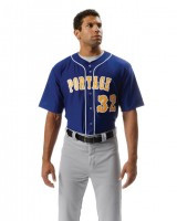 A4 Adult Short Sleeve Full Button Baseball Top N4184