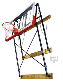 Gared Fold-Up, Wall Mounted Backstop with Backboard and Goal