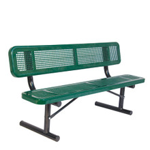 6' Bench w/ Back - Portable Perforated