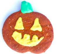 Each pumpkin is peanut butter flavored.  The dough is orange and the frosting is yellow and green yogurt.