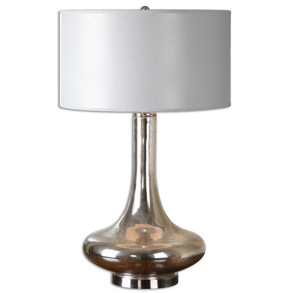 Mottled mercury glass accented with brushed nickel plated details. The round hardback drum shade is hand painted in a light gray.
