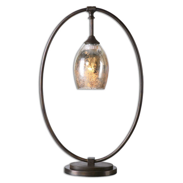 Oval metal base finished in a plated, oxidized bronze with a suspended, mottled mercury glass shade.