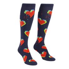 Pixelated Heart Knee-High Socks