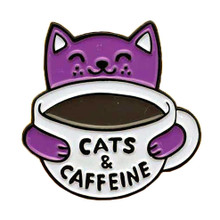 Cats + Caffeine Enamel Pin