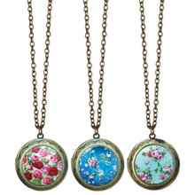 Floral Painted Locket Necklaces