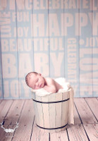 Newborn Baby Boy Photography Backdrop – Blue Wood with Baby Words – Baby Boy Photography - Vinyl - Exclusive Design - Item 1874